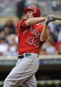 Mark Trumbo hits a home run against the Twins on Sunday. (Hannah Foslien/Getty Images)