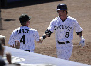 Colorado Rockies Manager Jim Tracy has plenty to shake hands with Charlie Blackmon about. (John Leyba/The Denver Post)