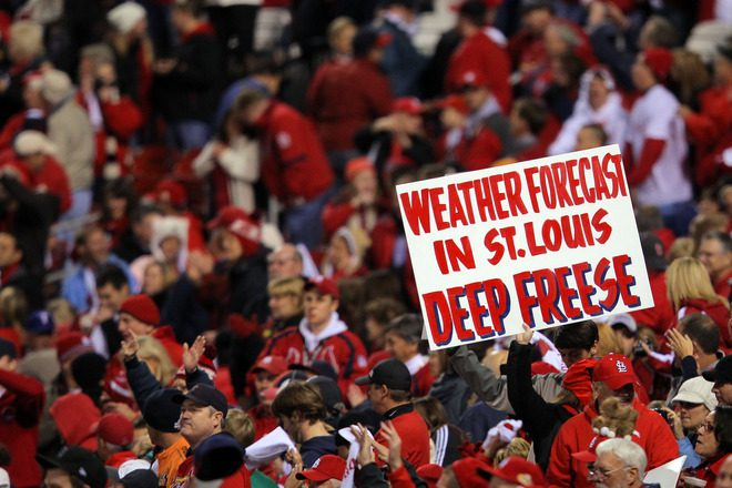 The weather forecast was dead on last night. (Doug Pensinger/Getty Images)
