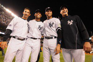 "With Jorge Posada joining Andy Pettitte in retirement, Mariano Rivera and Derek Jeter are the last of the ""core four."" (Al Bello/Getty Images)"