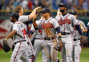 The Atlanta Braves celebrate Sunday after taking two of three from the Tampa Bay Rays. (J. Meric/Getty Images)
