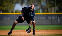 Derek Jeter taking ground balls in Florida.