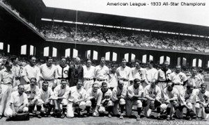 Black and white team photo of the American League team.