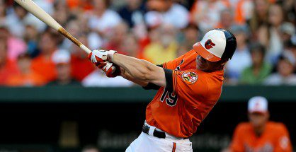 Chris Davis connects for a hit.