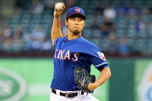 Yu Darvish throws a pitch.