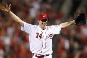 Homer Bailey no-hitter ends with the outstretched arms in celebration.