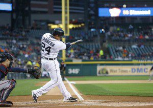 Miguel Cabrera swings and connects.