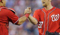 Washington Nationals' Wilson Ramos and Stephen Strasburg (Yahoo Sports)