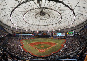 Tropicana Field from behind home plate.