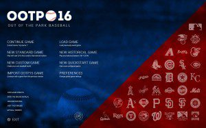 Start screen of OOTP16, which debuts in March.