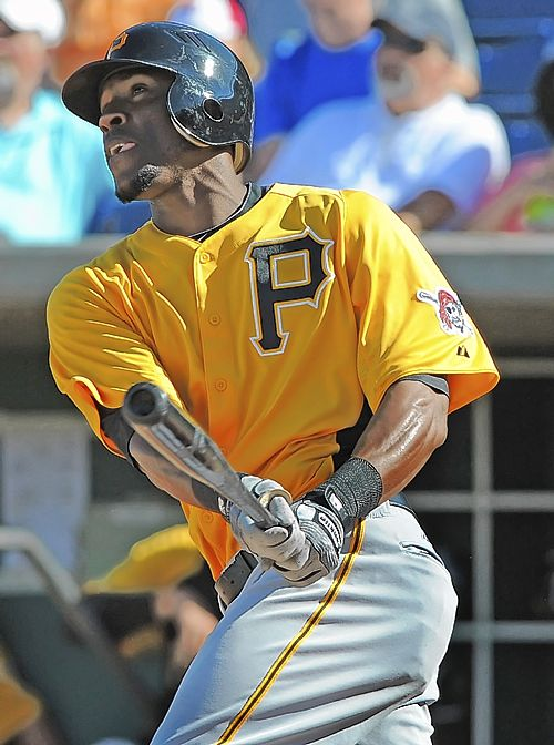 Starling Marte, swinging a bat for the Pittsburgh Pirates