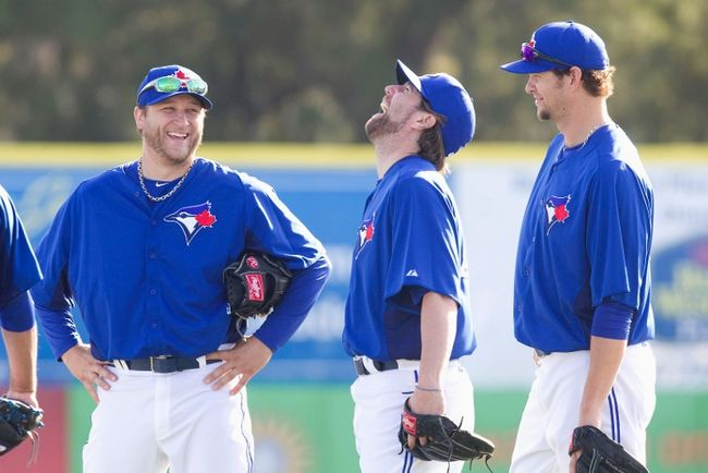 Members of the Blue Jays starting rotation: Mark Buehrle, R.A. Dickey and Josh Johnson in spring training.