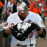 Manny Machado takes a pie in the face.