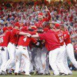 Cincinnati Reds celebrate after winning the NL Central
