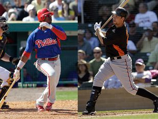 Fantasy baseball composite image of Domonic Brown and Brandon Belt swinging at the plate.