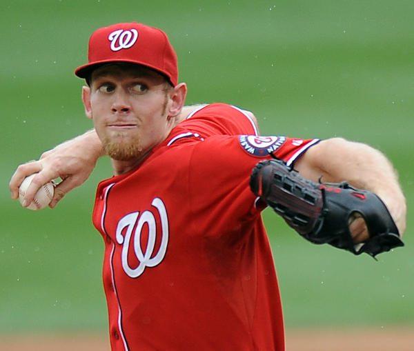 Washington Nationals pitcher Stephen Strasburg throwing a pitch in spring training.