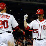Adam LaRoche is congratulated at home after hitting a home run.