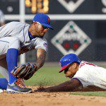 Ben Revere slides headfirst into second base.