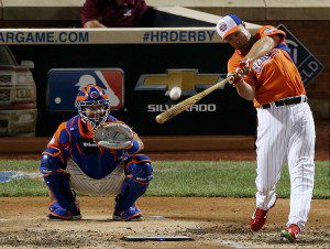 Michael Cuddyer connects during the Home Run Derby.