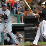 Composite of two images of MVP candidates Miguel Cabrera and Chris Davis at the plate.
