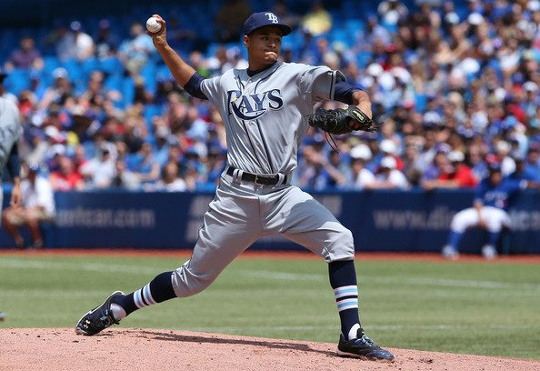 Chris Archer throws a pitch.