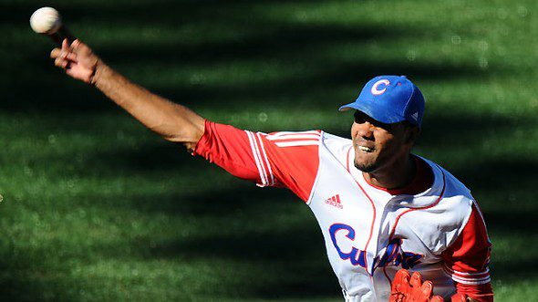 Miguel Alfredo Gonzalez throws a pitch. Will he be on the Los Angeles Dodgers soon?