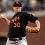 Chris Tillman throws a pitch.