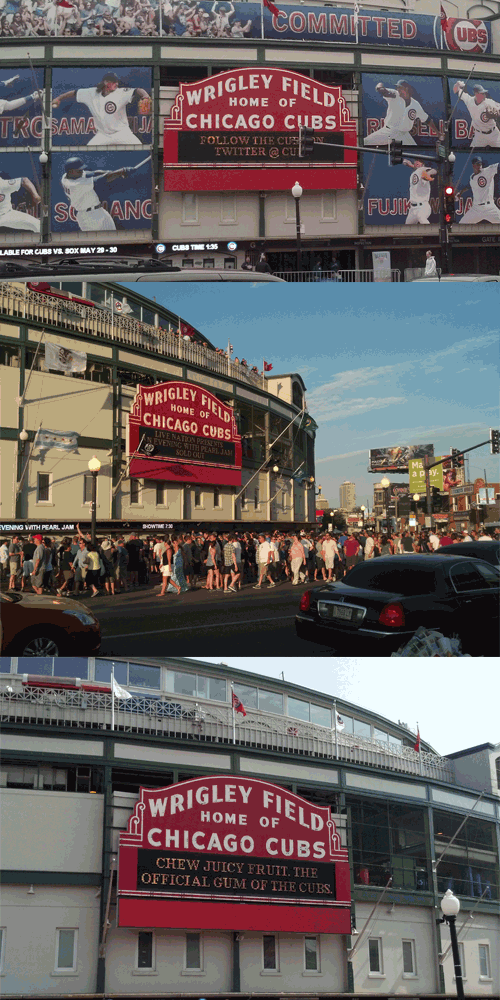 Chicago Cubs signage and lack thereof at Wrigley Field.