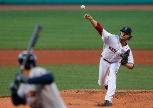 Clay Buchholz throws a pitch