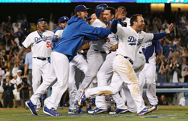 Los Angeles Dodgers players celebrate.