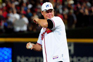 Chipper Jones throwing out the first pitch at the NLDS...to the mascot?